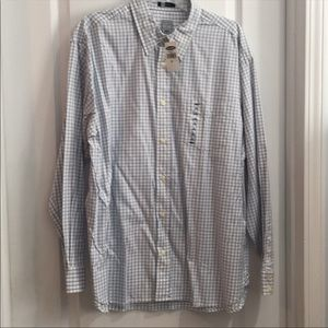 Old Navy White & Blue Casual Dress Shirt Size L